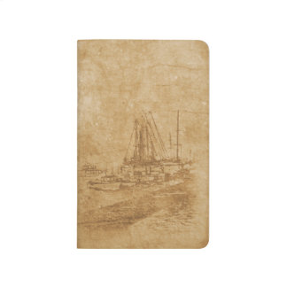 Drawing of yacht club in vintage style journal