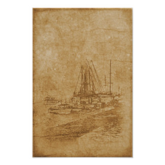 Drawing of yacht club in vintage style poster