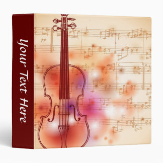 Drawing on watercolor background of violin 3 ring binder