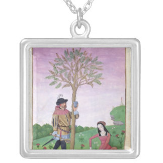 Drawing sap from a tree silver plated necklace