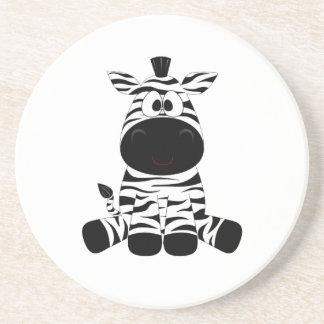 Drawn Black and White Cartoon Zebra sitting Coaster