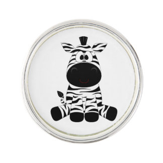 Drawn Black and White Cartoon Zebra sitting Lapel Pin