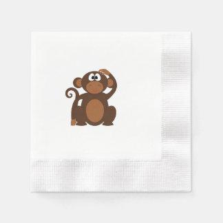 Drawn Brown Cartoon monkey scratching head Napkin
