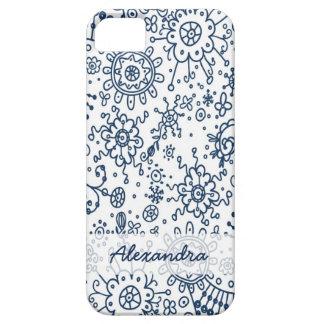Drawn Doodles iPhone 5 Case-Mate Case (navy blue)