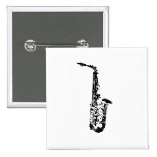 Drawn Look Saxophone Pinback Button