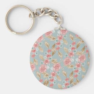 Drawn Retro Floral Pattern Basic Round Button Keychain