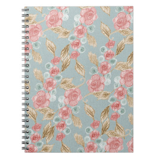 Drawn Retro Floral Pattern Notebook