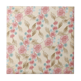 Drawn Retro Floral Pattern Tiles