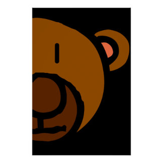 Drawn Teddy Bear Face Posters