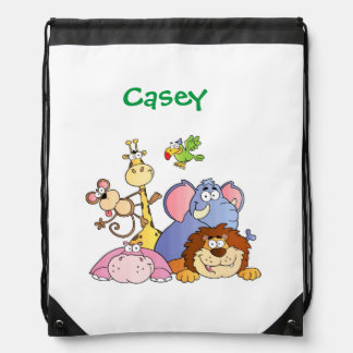 Drawstring Backpack--Jungle Animals Drawstring Bag