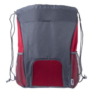 Drawstring Backpack, Red/Grey