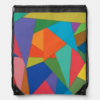 Drawstring Backpack w/ Colorful Polygon Shapes
