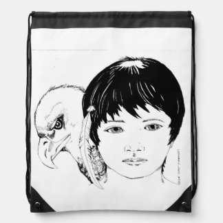 Drawstring backpack with Boy and Eagle