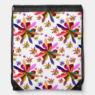 Drawstring Backpack with Stylized Flower 1
