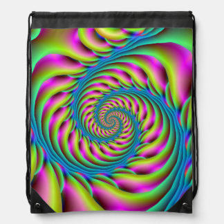 Drawstring Bag Spiral in Pink Turquoise and Yellow
