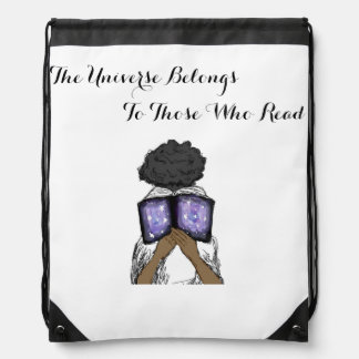 Drawstring Bag with Girl Reading a Book