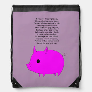 Drawstring pig backpack
