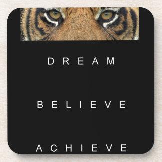 dream believe achieve motivational quote coaster