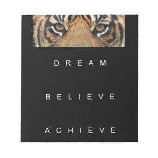 dream believe achieve motivational quote notepad