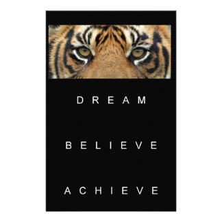 dream believe achieve motivational quote stationery