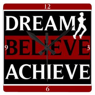 Dream Believe Achieve Runner Wall Clock