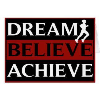 Dream Believe Achieve Running Greeting Card