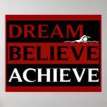 Dream Believe Achieve Swimming Poster