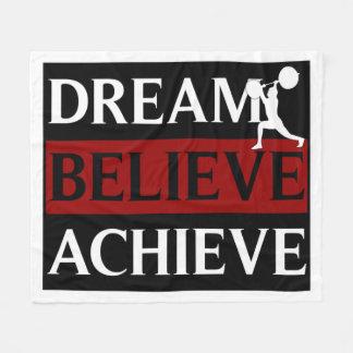 Dream Believe Achieve Weightlifter Fleece Blanket
