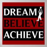 Dream Believe Achieve Womens Volleyball Poster