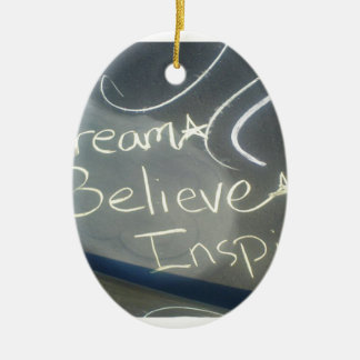 dream believe inspire star ceramic oval ornament