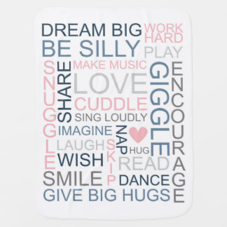 Dream Big Be Silly Love Cuddle Word Baby Blanket