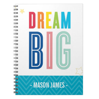 DREAM BIG cool typography bright colors Spiral Note Book