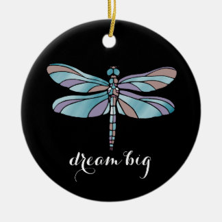 Dream Big Dragonfly Round Ceramic Ornament