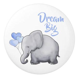 Dream Big Inspiring Cute Elephant Baby Boy Nursery Ceramic Knob