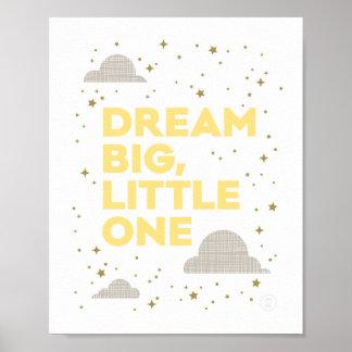 Dream Big, Little One Art Print in Yellow