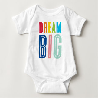 DREAM BIG LITTLE ONE cool typography bright Baby Bodysuit