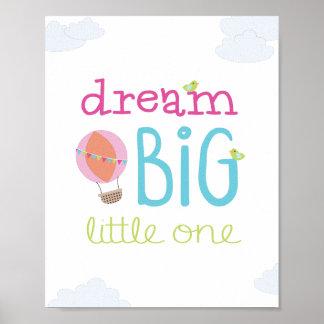 Dream Big Little One Hot Air Balloon Nursery Art Poster