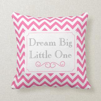 Dream Big Little One, Pink White Gray Chevron Throw Pillow