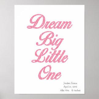 Dream Big Little One Pink Zebra Art Poster
