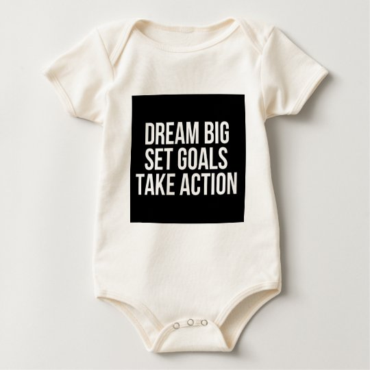 Dream Big Set Goal Take Action Motivational Quote Baby Bodysuit
