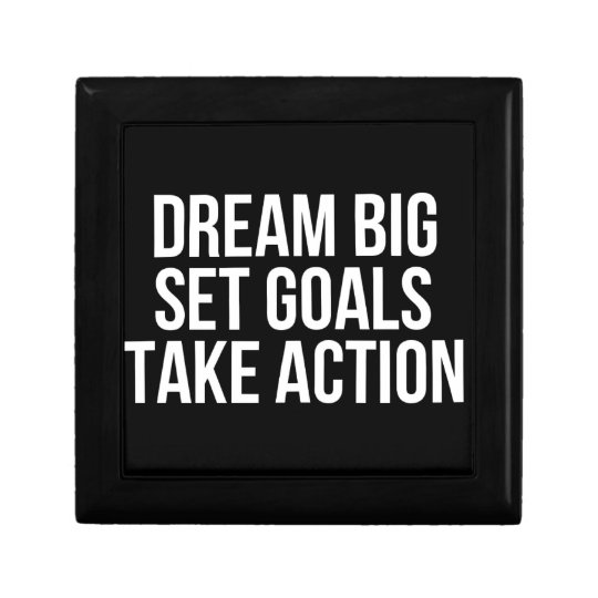 Dream Big Set Goal Take Action Motivational Quote Jewelry Boxes