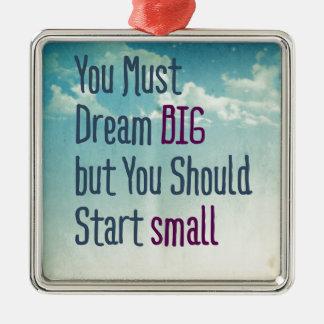 Dream Big Silver-Colored Square Ornament