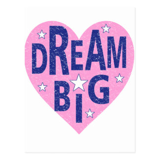 Dream big vintage heart postcard