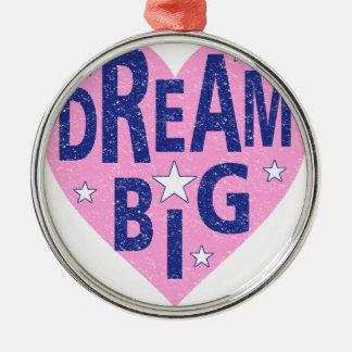 Dream big vintage heart Silver-Colored round ornament