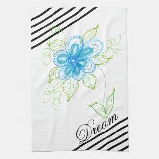 Dream Black And White Diagonal Stripe Hand Towel