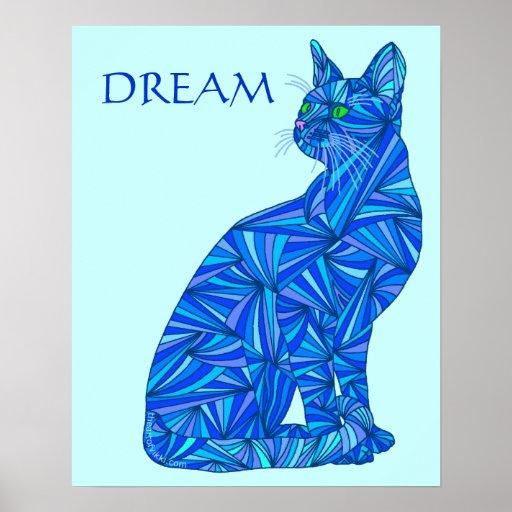 "DREAM Blue Abstract Cat 16"" x 20"" Art Print"