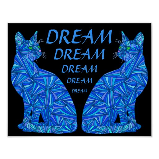 "DREAM Blue Abstract Sitting Cat 14"" x 11"" Print"
