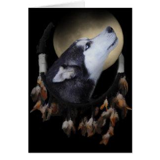 Dream catcher and blue eyed Husky Card