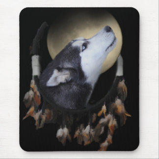 Dream catcher and blue eyed Husky Mouse Pad
