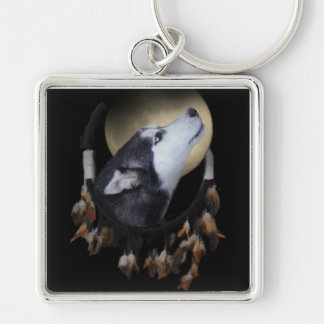 Dream catcher and blue eyed Husky Silver-Colored Square Keychain